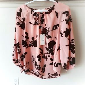 H by Halston Floral Blouse